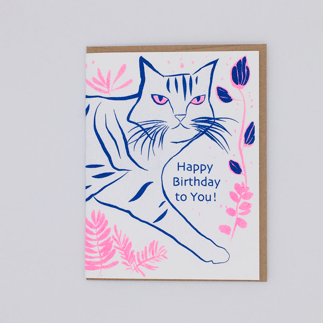 Happy Birthday - Pink and Blue Cat Card