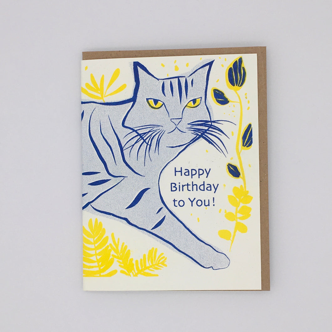 Happy Birthday - Blue and Yellow Cat Card