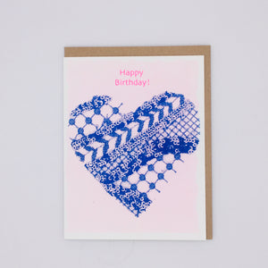 Happy Birthday - Pink and Blue Lace Card
