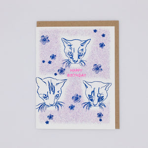 Happy Birthday- Blue Cats and Flowers Card
