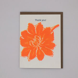 Thank You - Orange Lace Flower Card