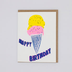 Happy Birthday - Yellow and Pink Ice Cream Card