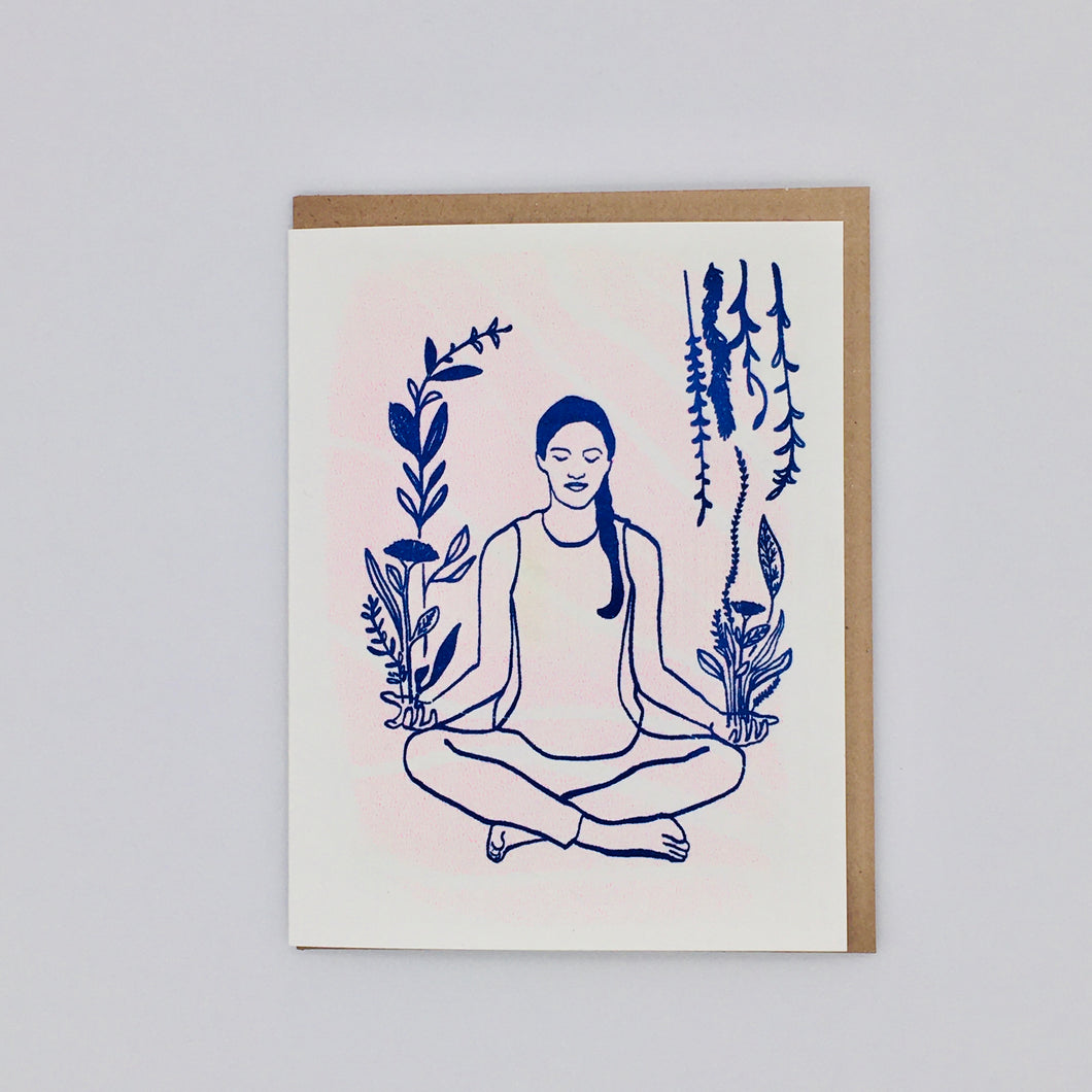 Blue and Pink Yoga Meditation - Card