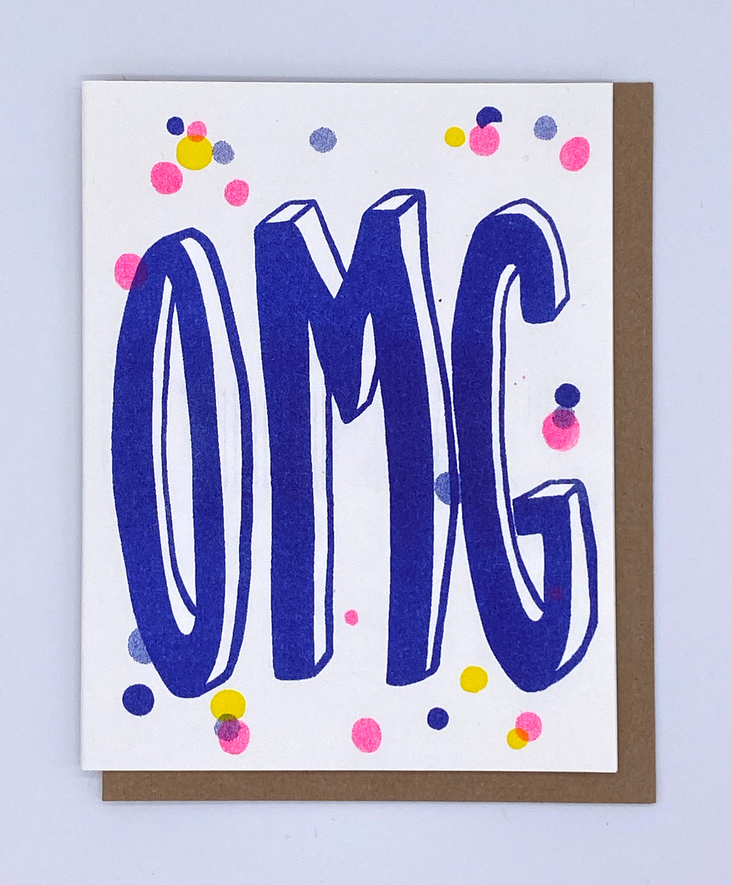 OMG - Blue with Confetti Card