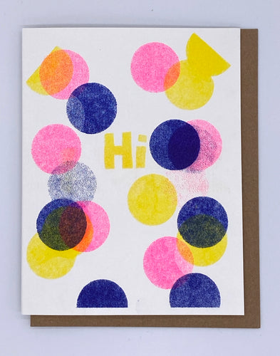Hi - Blue, Pink and Yellow Confetti Card