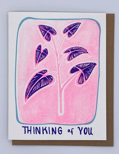 Thinking of You - Blue Leaves on Pink