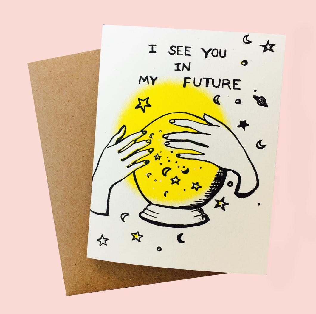 Card by Juana Meneses / Loteria Press, risograph black and yellow print