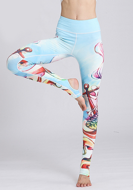 Stretch Fabric Floral Yoga Pants