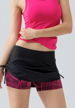 2 in 1 Drawstring Zipper Shorts