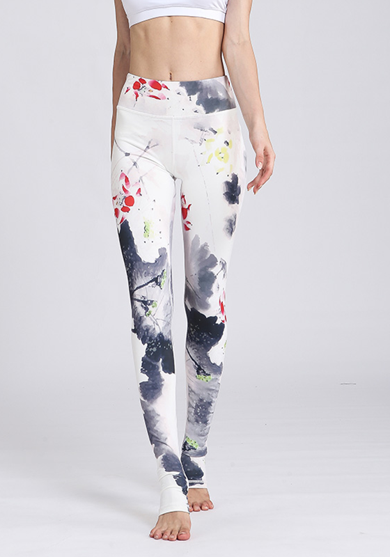 Flower Print Elastic Pants