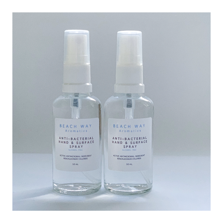 2x50mL Anti-Bacterial Hand & Surface Sprays (alcohol free)