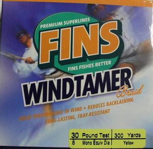 FINS Windtamer Braid 300 yards colour Yellow