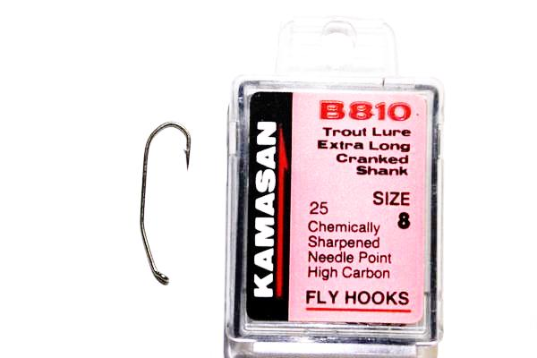 Kamasan Fly Hooks B810 Qty 25 Trout Lure Extra Long Cranked Shank