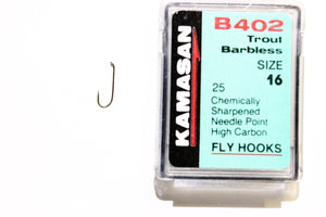 Kamasan Fly Hooks B402 Qty 25 Barbless Ideal for Wet and Dry Flies