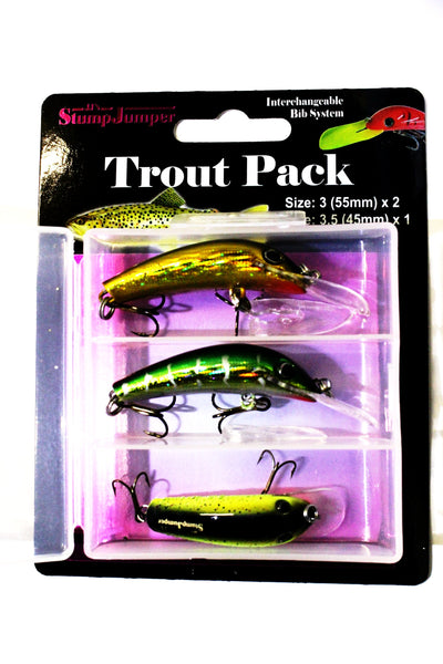 JJ's StumpJumper Trout Pack size 3 x 2 and size 3.5 x 1