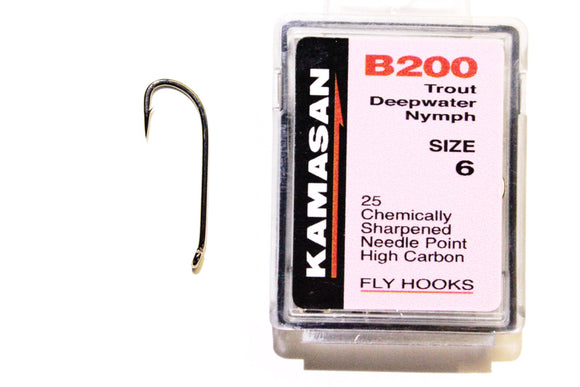 Kamasan Fly Hooks B200 Qty 25 for Nymphs and Mini Lures