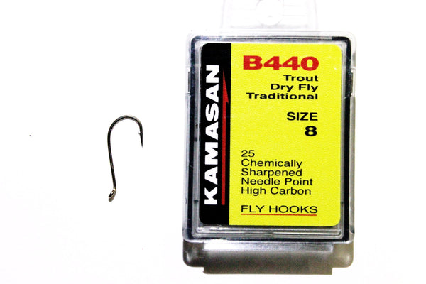 Kamasan Fly Hooks B440 Qty 25 Traditional Trout Dry Fly Tying Hooks