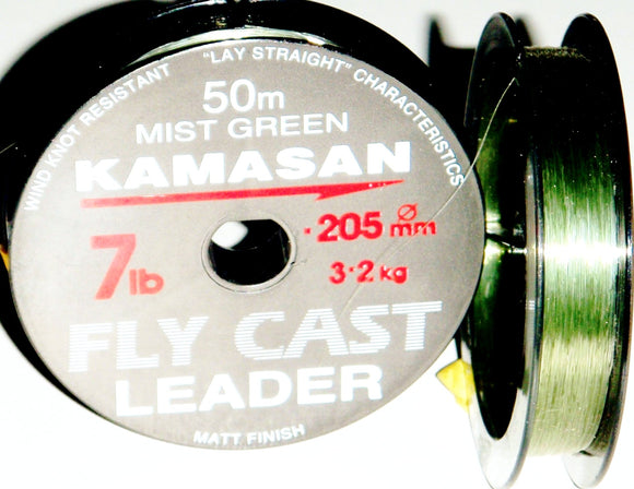 Kamasan Fly Cast Leader Material Mist Green 50 metres diameter 0.205mm 7lb