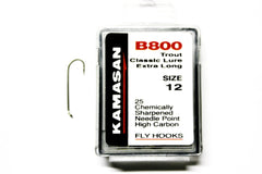 Kamasan Fly Hooks B800 Qty 25 4x Long Shank Round Bend Lure
