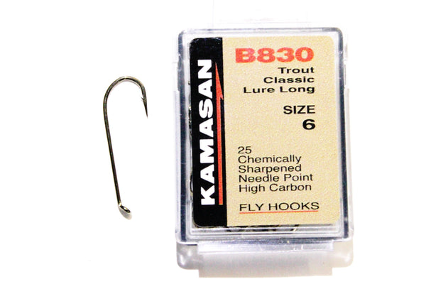 Kamasan Fly Hooks B830 Qty 25 Classic Lure Long Shank Streamers