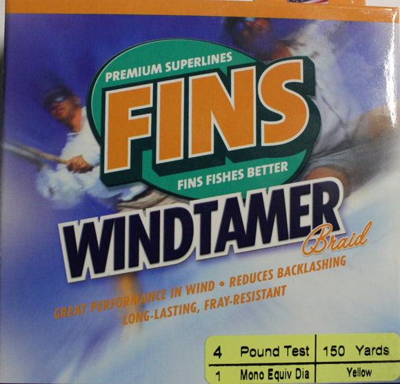 FINS Windtamer Braid 150 yards colour Yellow
