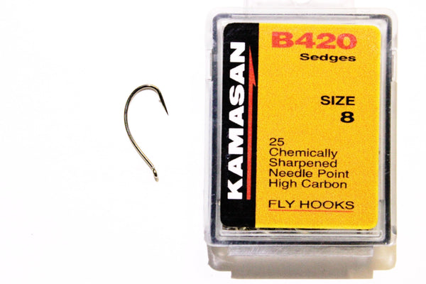 Kamasan Fly Hooks B420 Qty 25 Ideal For Caddis Nymphs, Glow Bugs