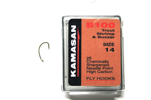 Kamasan Fly Hooks B100 size 16 Qty 25 for Trout, Shrimp and Buzzer