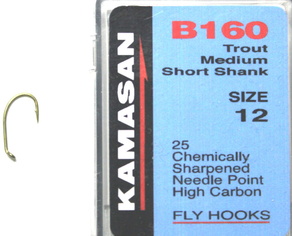 Kamasan Fly Hooks B160 Qty 25 for Drys, Nymphs, Buzzers and Spiders