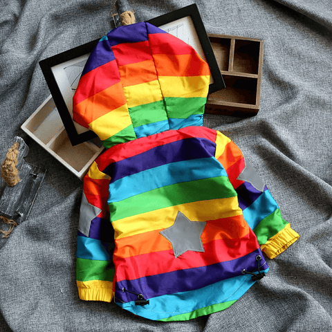 Image of Hooded Rainbow Coat