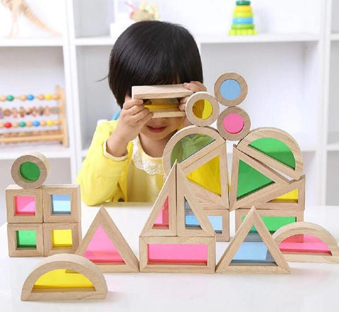Image of Rainbow Wooden Shapes Blocks-Puzzle Toys