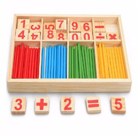 Math Box with Digital Cards and Montessori Wooden Sticks-Puzzle Toys