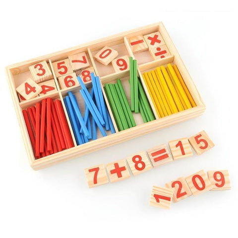Image of Math Box with Digital Cards and Montessori Wooden Sticks-Puzzle Toys