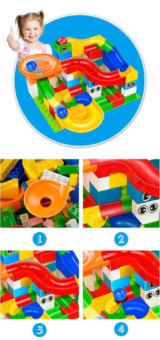 Marble Race Run Maze Balls Track Building Blocks-Puzzle Toys