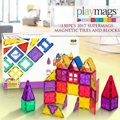 Image of Playmags 150 Piece Set + 18 ABC Clickins Bonus-Puzzle Toys