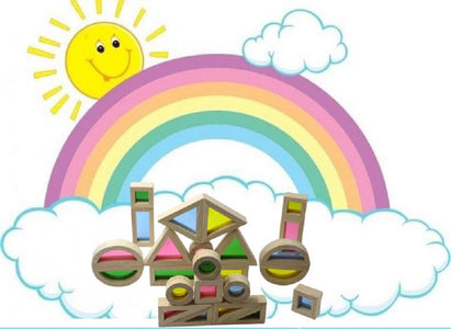 Rainbow Wooden Shapes Blocks-Puzzle Toys