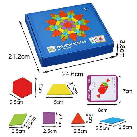 Image of Pattern Blocks Montessori Wooden Puzzle