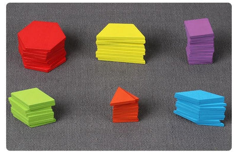 Pattern Blocks Montessori Wooden Puzzle