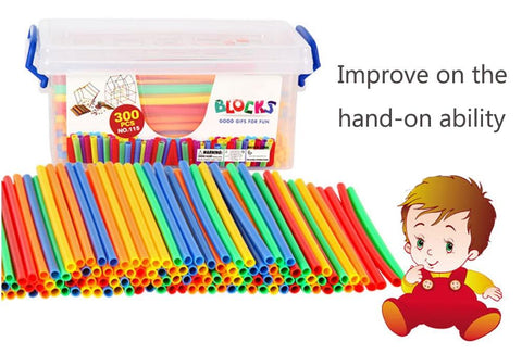 Image of Box of Straw Building Blocks Educational Toys - Puzzle Toys