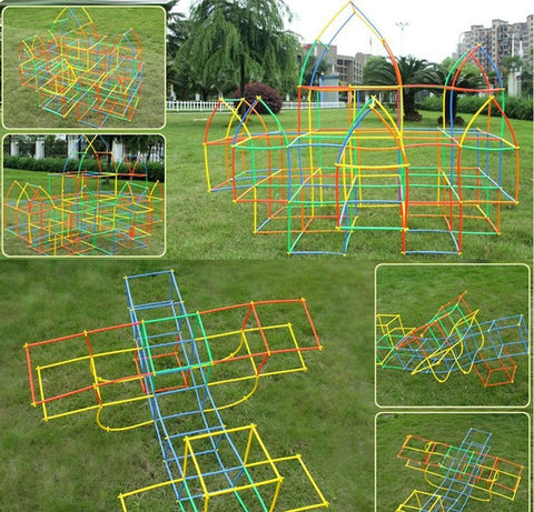 Image of Park with Sculpture of Straw Building Blocks Educational Toys - Puzzle Toys