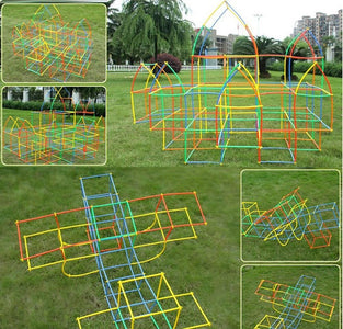 Park with Sculpture of Straw Building Blocks Educational Toys - Puzzle Toys