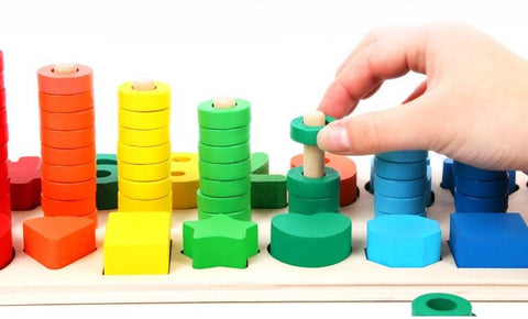 Image of Wooden Montessori Math and Alphabet Learning Game Board-Puzzle Toys