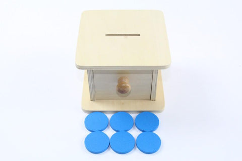 Montessori Wooden Drawer Box with Token-Puzzle Toys