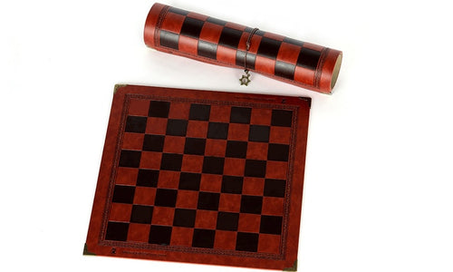 Travel Size Embossed Vegan Leather Chess Board