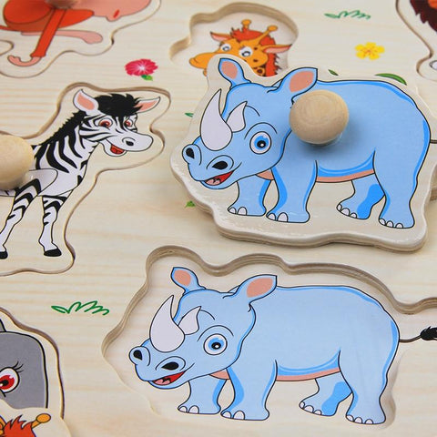 Image of Early Childhood Hand Grasp Wooden Puzzle-Puzzle Toys