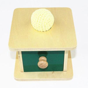 Montessori Wooden Drawer Box with Drawer and Soft Knit Ball-Puzzle Toys