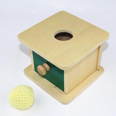 Image of Montessori Wooden Drawer Box with Drawer and Soft Knit Ball-Puzzle Toys