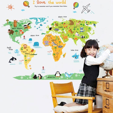 'I Love The World' Kids World Map Adhesive Vinyl Stickers-Puzzle Toys
