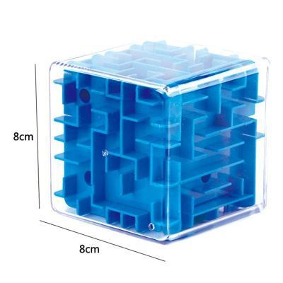 Image of Blue size 3D Cube Maze Toy Puzzle Game Brain Teaser Labyrinth Rolling Ball -Puzzle Toys