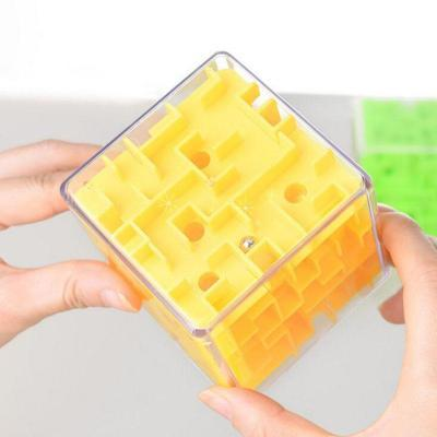 Image of Yellow on hand 3D Cube Maze Toy Puzzle Game Brain Teaser Labyrinth Rolling Ball -Puzzle Toys