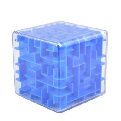 Image of Blue 3D Cube Maze Toy Puzzle Game Brain Teaser Labyrinth Rolling Ball -Puzzle Toys